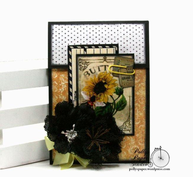 Fancy Fold Bee Card Polly's Paper Studio 01