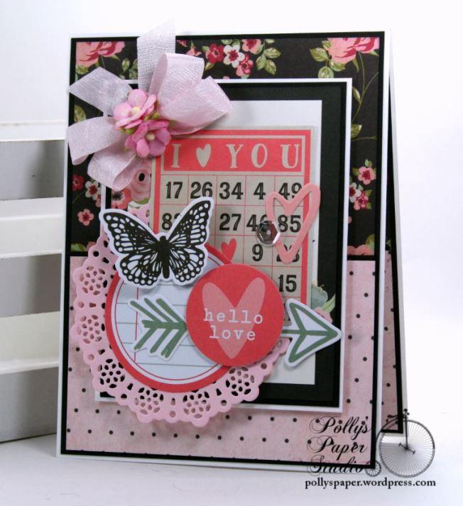 I Love You Bingo Valentine Greeting Card Polly's Paper Studio 01