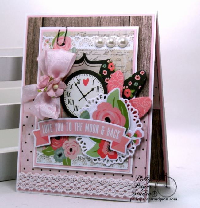 Love You To The Moon and Back Valentine Greeting Card Polly's Paper Studio 01