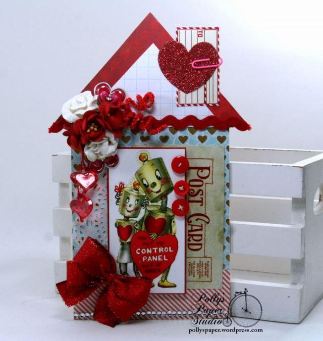 Retro Robot Valentine House Tag Polly's Paper Studio 01