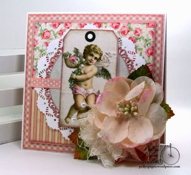 Shabby Chic Valentine Cherub Greeting Card Polly's Paper Studio 01