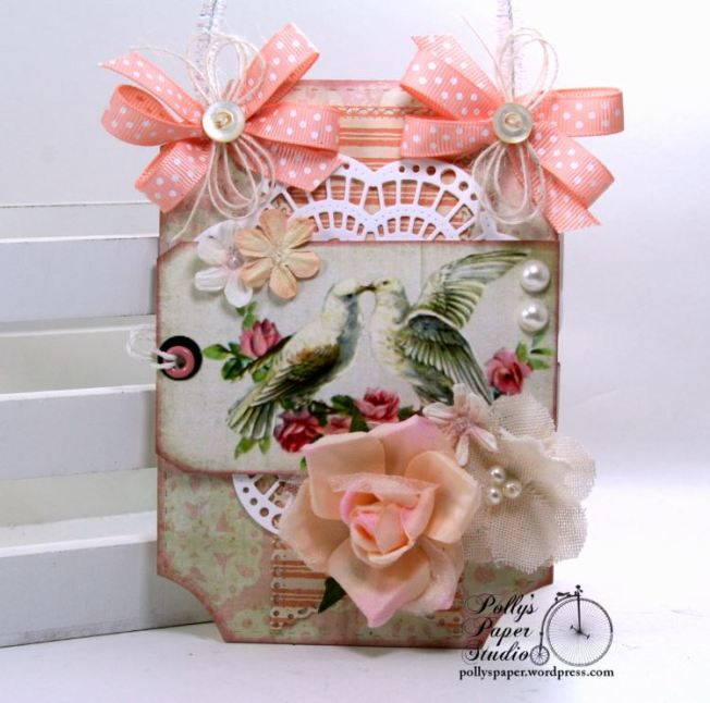 Shabby Chic Valentine Doves Tag Polly's Paper Studio 01