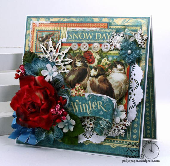Winter Snow Day Greeting Card Polly's Paper Studio 01