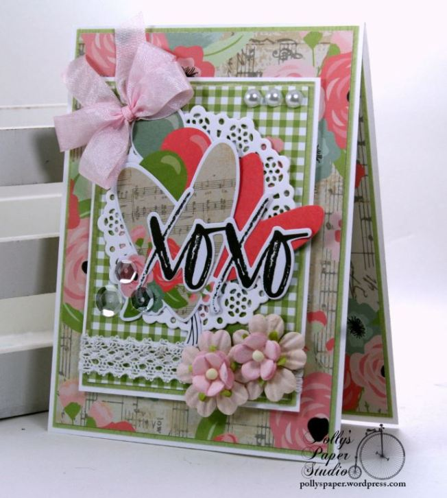 XOXO Valentine Greeting Card Polly's Paper Studio 02