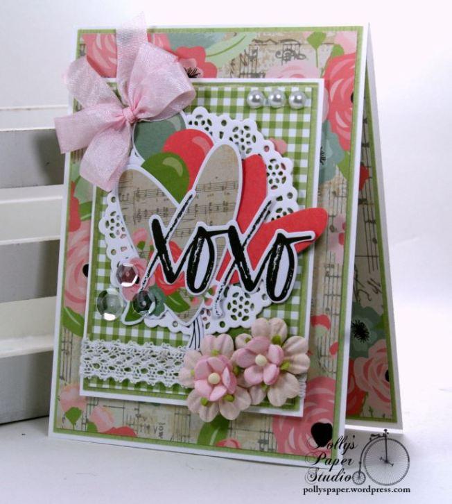 XOXO Valentine Greeting Card Polly's Paper Studio 02
