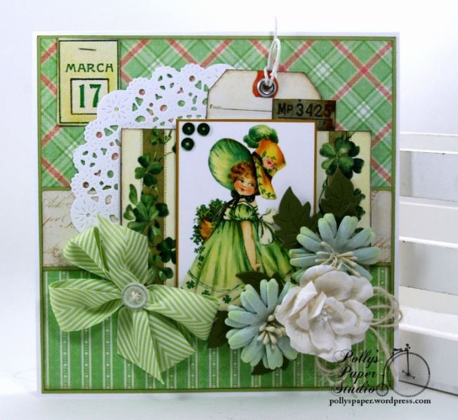Bonnie Lass St Patrick's Day Greeting Card Polly's Paper Studio 01