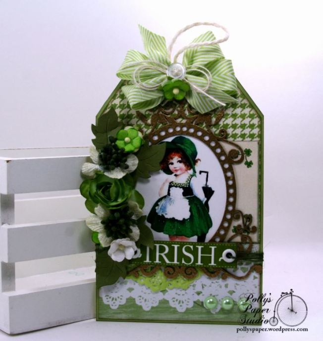 Irish Lass St Patrick's Day Tag Holiday Decor Polly's Paper Studio 01