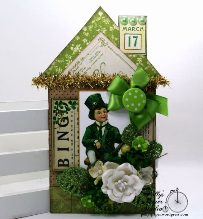 St Patrick's Day Holiday House Tag Decor Polly's Paper Studio 01