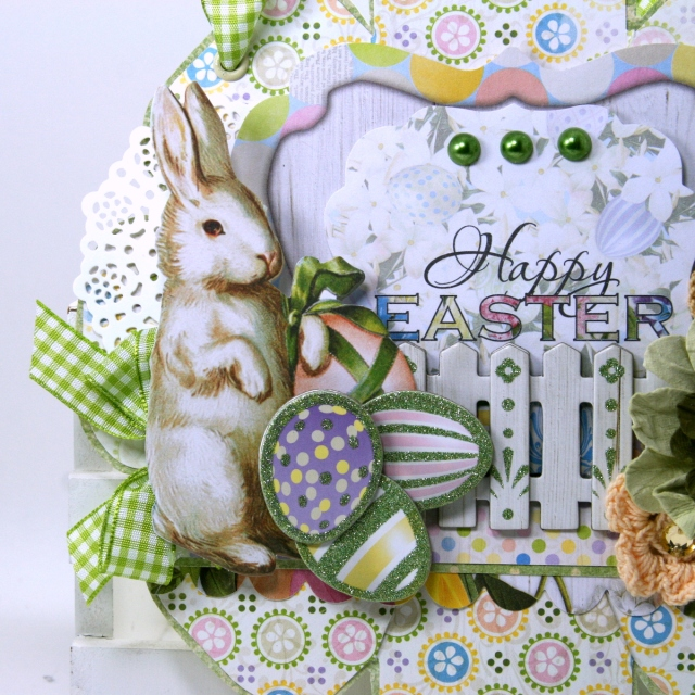 Happy Easter Wall Hanging by Ginny Nemchak for BoBunny using the Cottontail Collection and WeRMemory Keepers Flower Punch Board