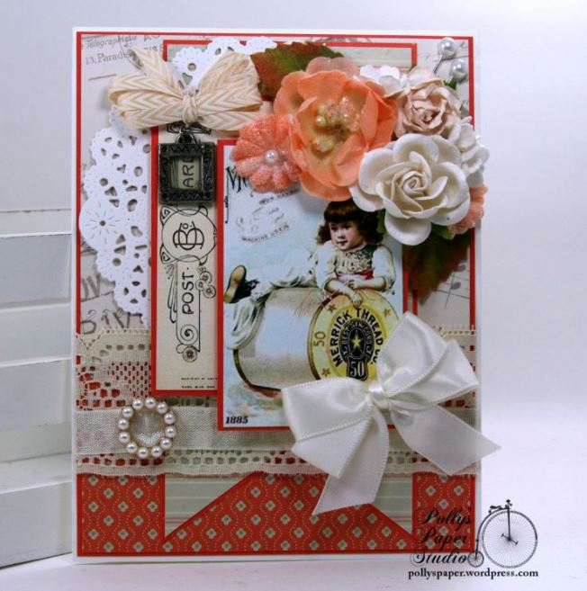 Vintage Sewing Card with charm and Ribbon Slide Polly's Paper Studio 01