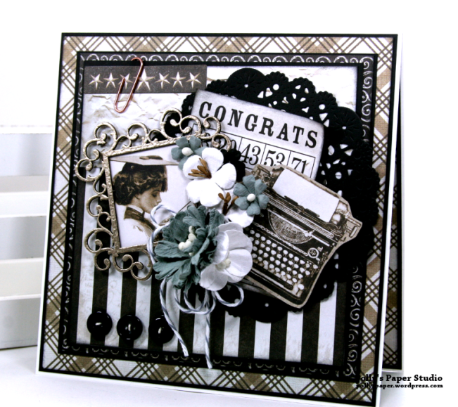 Congrats Vintage Graduation Greeting Card Polly's Paper Studio 01