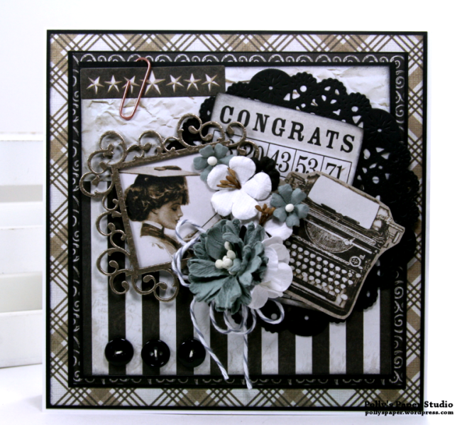 Congrats Vintage Graduation Greeting Card Polly's Paper Studio 02