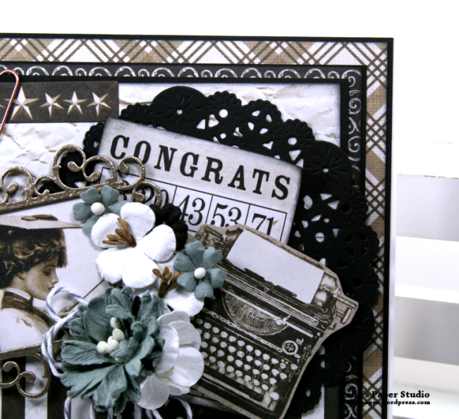 Congrats Vintage Graduation Greeting Card Polly's Paper Studio 05