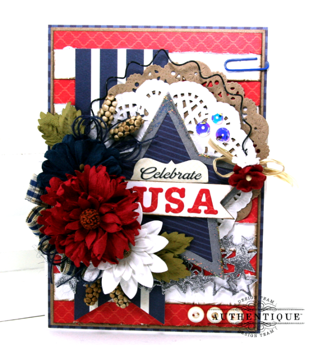 Celebrate USA Greeting Card Polly's Paper Studio 01