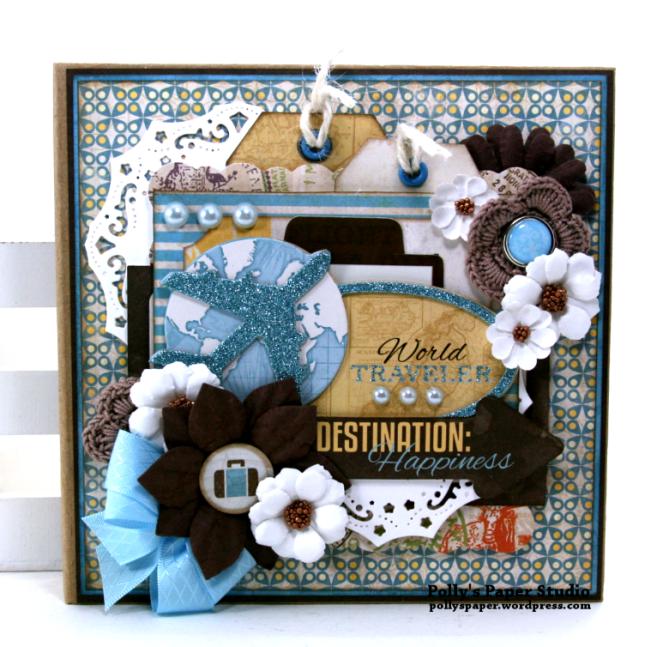 Destination Happiness Mini Scrapbook Album Polly's Paper Studio 01