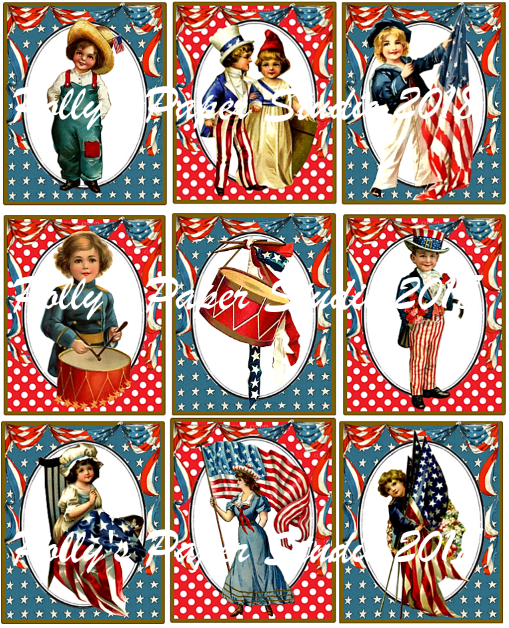 Vintage Stars and Stripes Digital Collage WM Pollys Paper Studio