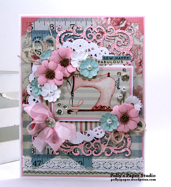 Sew Happy Fabulous All Occasion Greeting Card Polly's Paper Studio 01