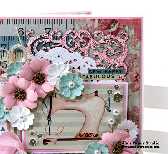 Sew Happy Fabulous All Occasion Greeting Card Polly's Paper Studio 04