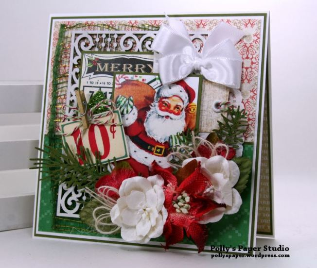 Bingo Santa Christmas Greeting Card Polly's Paper Studio 01