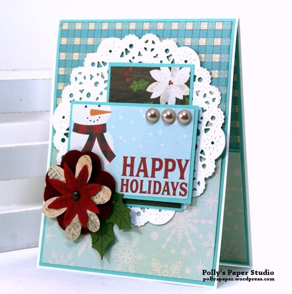 Happy Holidays Snowman Christmas Greeting Card Polly's Paper Studio 01