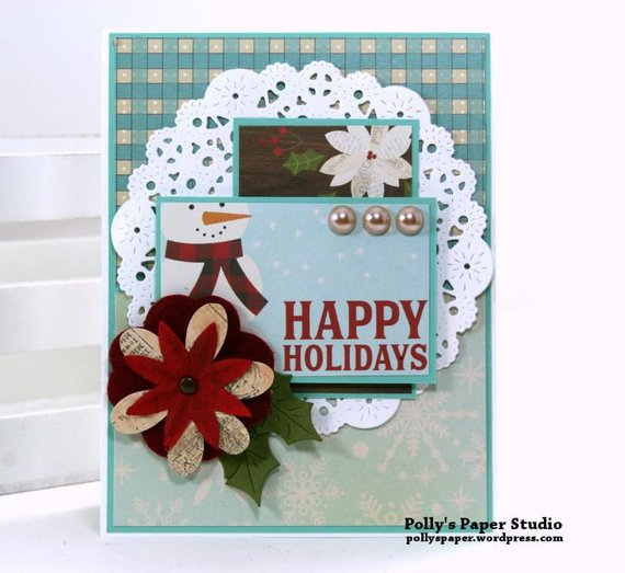 Happy Holidays Snowman Christmas Greeting Card Polly's Paper Studio 02