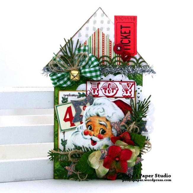 Joy Santa Retro Christmas House Tag Polly's Paper Studio 01