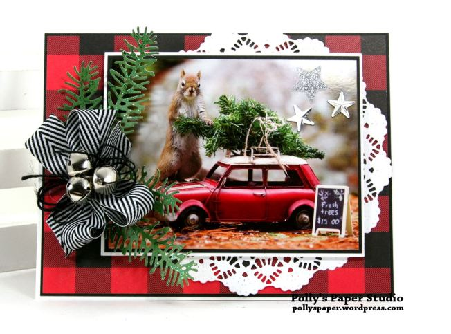 Merry Christmas Fur Friend Greeting Card Polly's Paper Studio 01