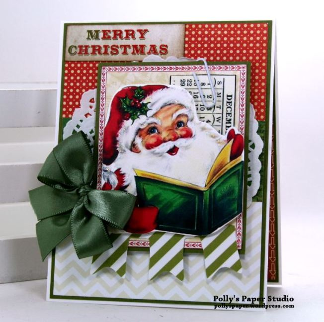 Merry Christmas Santa Greeting Card Polly's Paper Studio 01