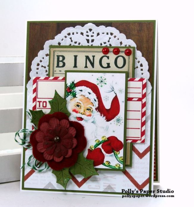 Santa Bingo Christmas Greeting Card Polly's Paper Studio 01