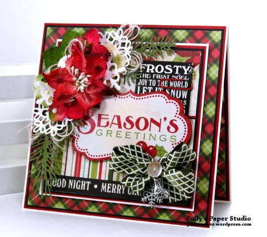 Seasons Greetings Christmas Card Polly's Paper Studio 01