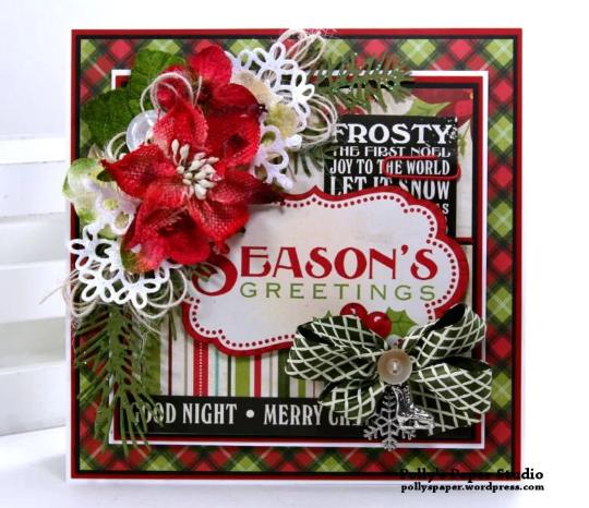 Seasons Greetings Christmas Card Polly's Paper Studio 02
