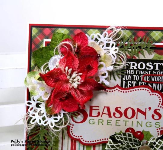 Seasons Greetings Christmas Card Polly's Paper Studio 03