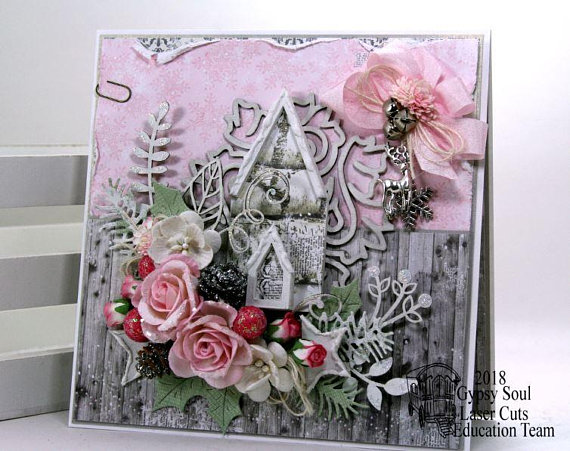 Shabby Chic Pink Church Christma Greeting Card Polly's Paper Studio 01
