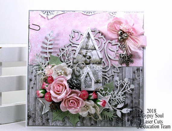 Shabby Chic Pink Church Christma Greeting Card Polly's Paper Studio 02