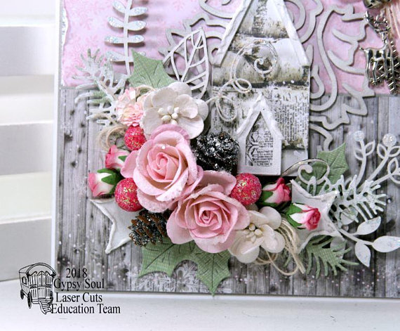 Shabby Chic Pink Church Christma Greeting Card Polly's Paper Studio 03