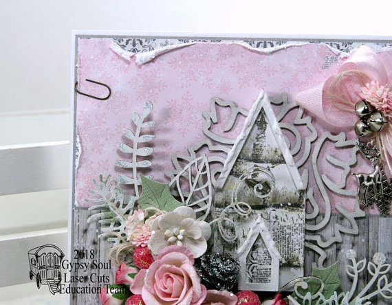 Shabby Chic Pink Church Christma Greeting Card Polly's Paper Studio 04