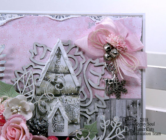 Shabby Chic Pink Church Christma Greeting Card Polly's Paper Studio 05