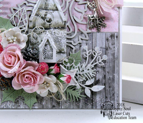 Shabby Chic Pink Church Christma Greeting Card Polly's Paper Studio 06