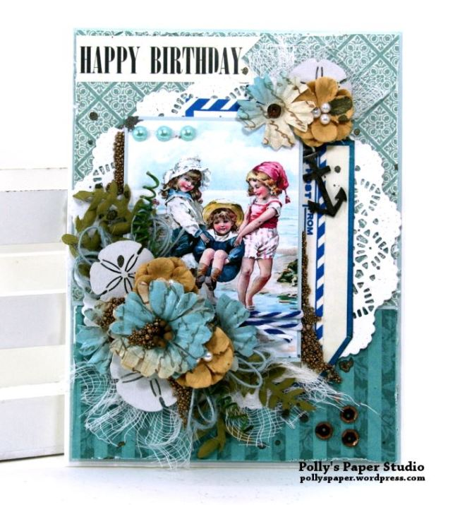 Beachy Birthday Greeting Card Polly's Paper Studio 01
