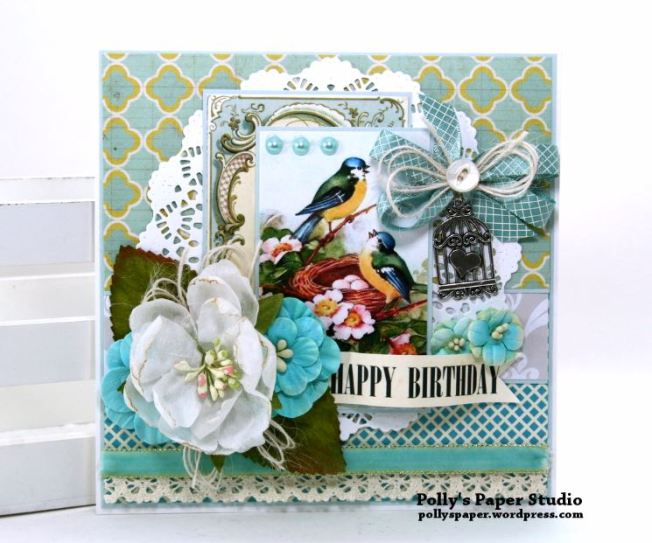 Happy Birthday Birdie Greeting Card Polly's Paper Studio 01