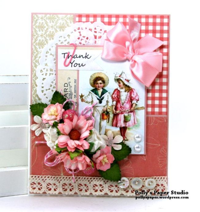 Thank You Shabby Pink Greeting Card Polly's Paper Studio 01