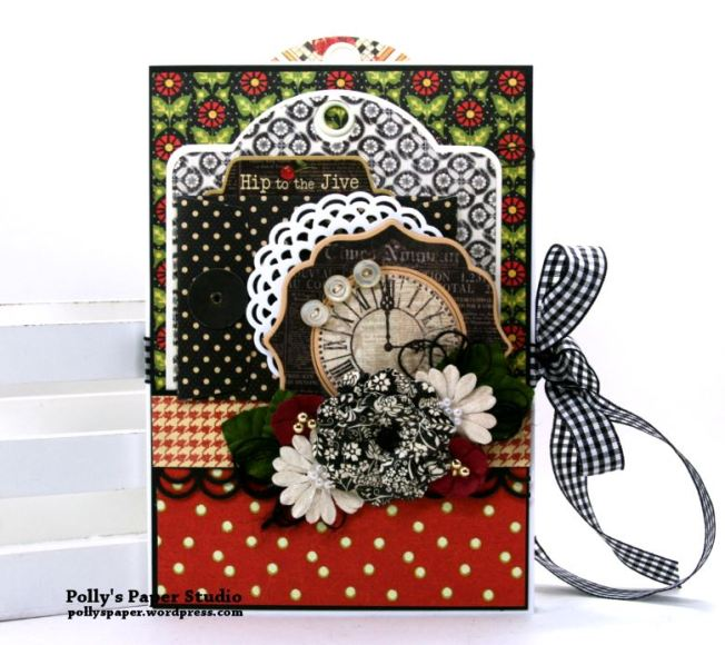 Time Nouveau Tri-Fold Flip Book Scrapbook Mini Album Polly's Paper Studio 01