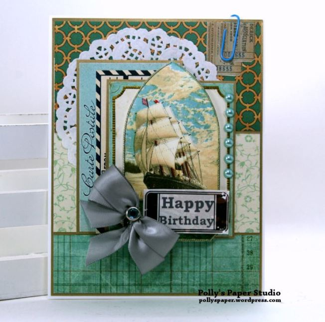 Vintage Ship Happy Birthday Greeting Card Polly's Paper Studio 01