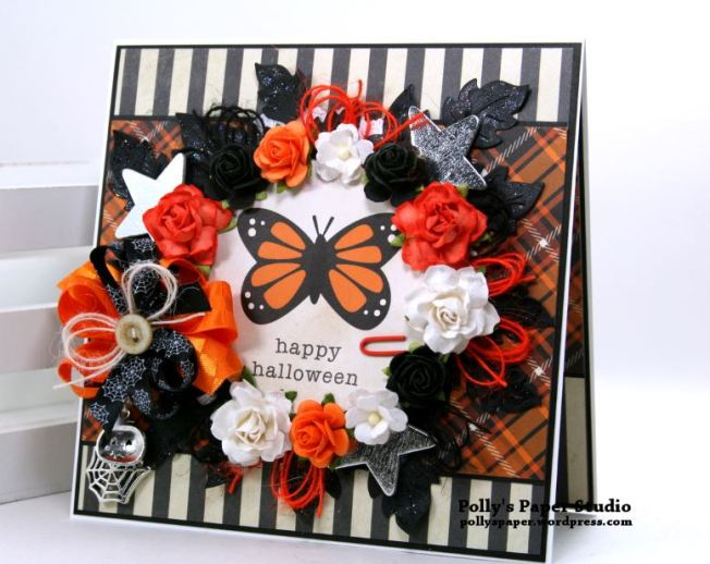 Happy Halloween Butterfly Greeting Card Polly's Paper Studio 01