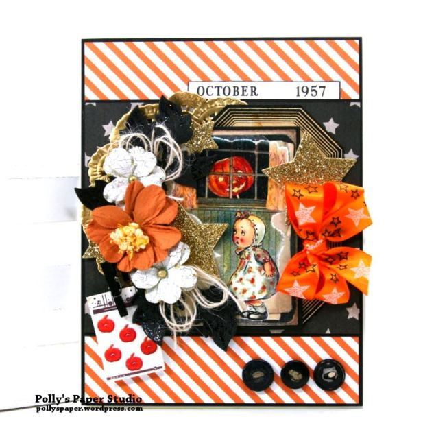 Vintage Halloween Girl Greeting Card Polly's Paper Studio 01
