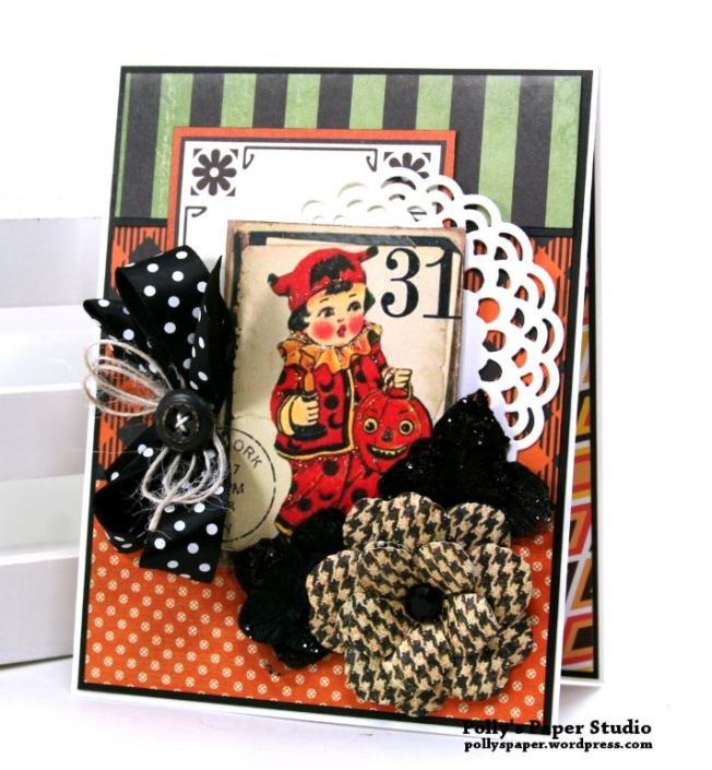 Vintage Halloween Greeting Card Polly's Paper Studio 01