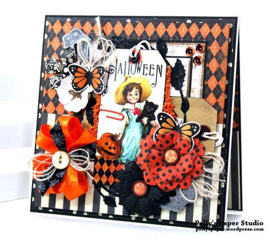 Vintage Halloween Tag Greeting Card Polly's Paper Studio 01
