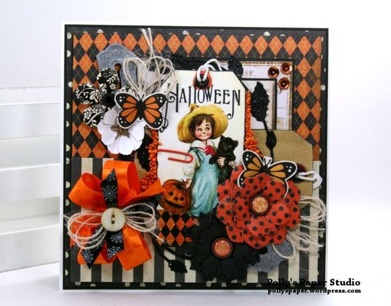 Vintage Halloween Tag Greeting Card Polly's Paper Studio 02