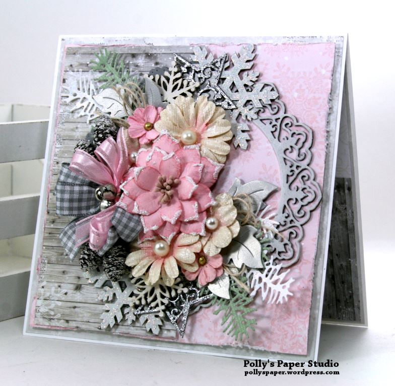 Shabby Chic Christmas Greeting Card Polly's Paper Studio 01