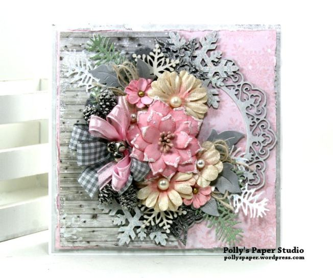 Shabby Chic Christmas Greeting Card Polly's Paper Studio 02